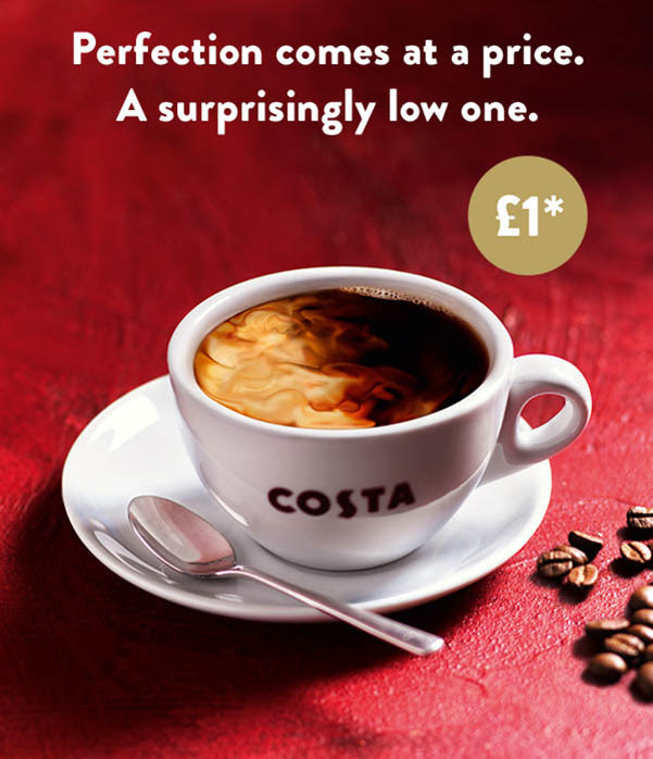 Start your day with a Costa Coffee for just £1